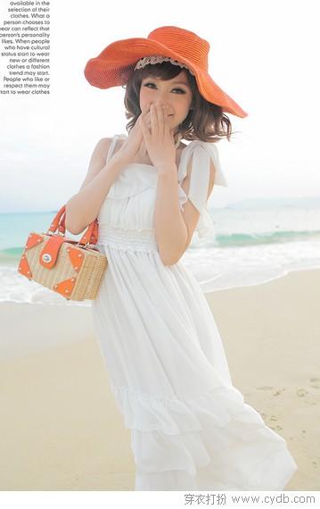 荷边雪纺吊带甜美长裙高清图片
