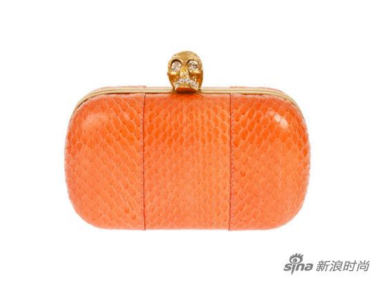 橘色蛇皮纹手拿包