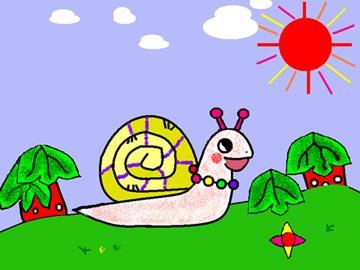 可爱彩色蜗牛简笔画
