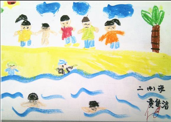 夏日游泳儿童画作品-欢乐游泳比赛-少儿频道-兰州网图片