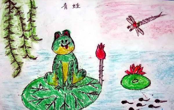 荷花池塘蜻蜓儿童画 青蛙