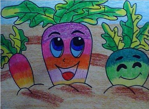 今天小编就给大家看一幅画有彩色萝卜的图画.