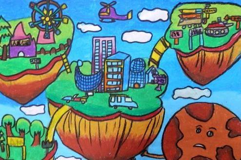 科幻儿童蜡笔画:天空之城