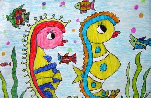 海底世界儿童画:海马的欢乐