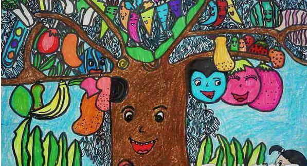 儿童创意水彩画 水果蔬菜树