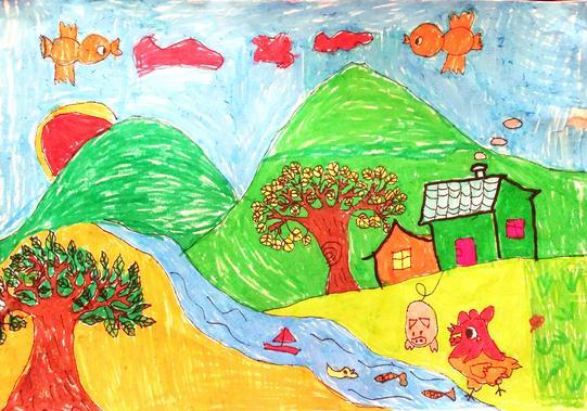 简单水彩画-可爱的家