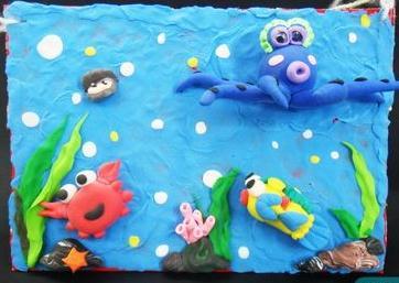 关于海洋的儿童粘贴画 海底世界