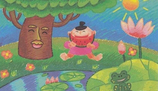 夏天主题儿童水彩画:吃西瓜