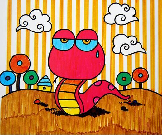 可爱儿童水彩画:迷路的眼镜蛇