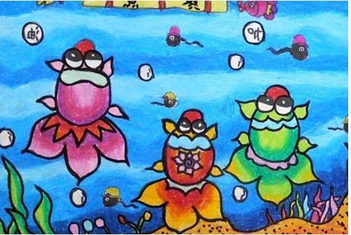 海底世界儿童画蜡笔画:三只小金鱼比赛