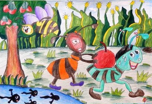 夏天主题儿童画:蚂蚁搬水果