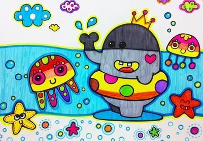 海滩儿童画:大象喷水