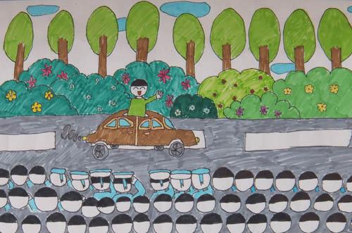 抗战70周年儿童画-抗战大阅兵