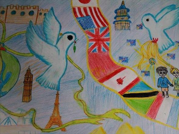 儿童画:世界和平-儿童画-中国兰州网-少儿频道