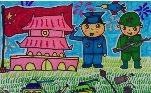 最简单的抗战儿童画 少儿书画抗战图 抗战胜利70周年简笔画高清图片