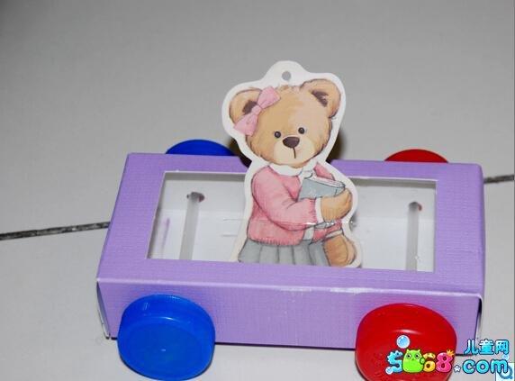 玩具手工小制作图解:废物利用做的小汽车-少儿频道