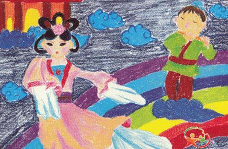 七夕节儿童画作品:牛郎织女