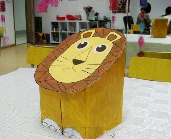 旧物改造手工制作:小狮子垃圾桶