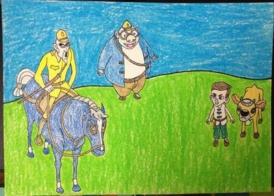 敌人看见王二小在山坡上放牛,就叫他带路.图片