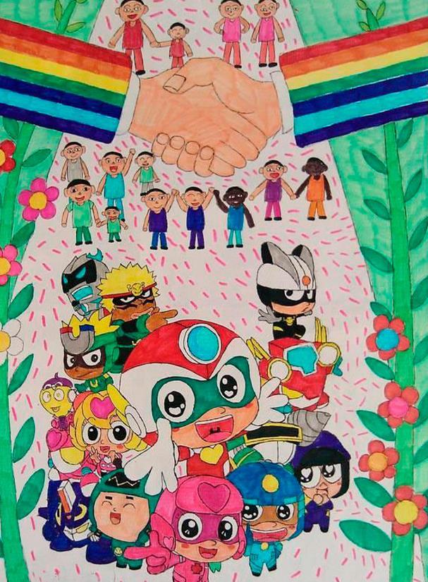 纪念世界抗战胜利70周年儿童画:世界和平共处