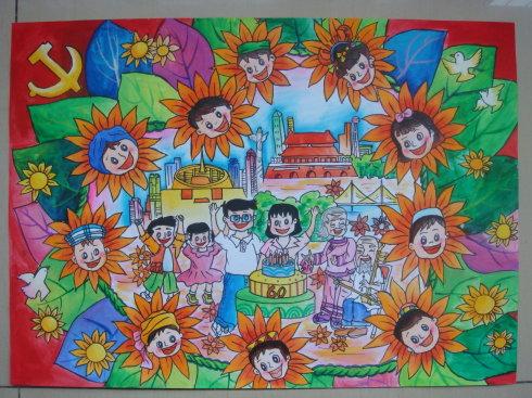 战胜利儿童画 祖国在我们心中
