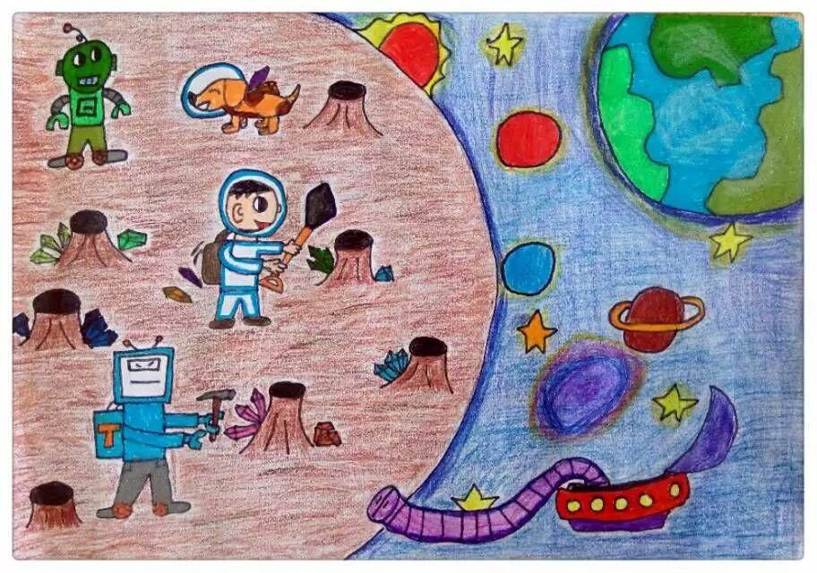 儿童太空科幻画 探索外星球