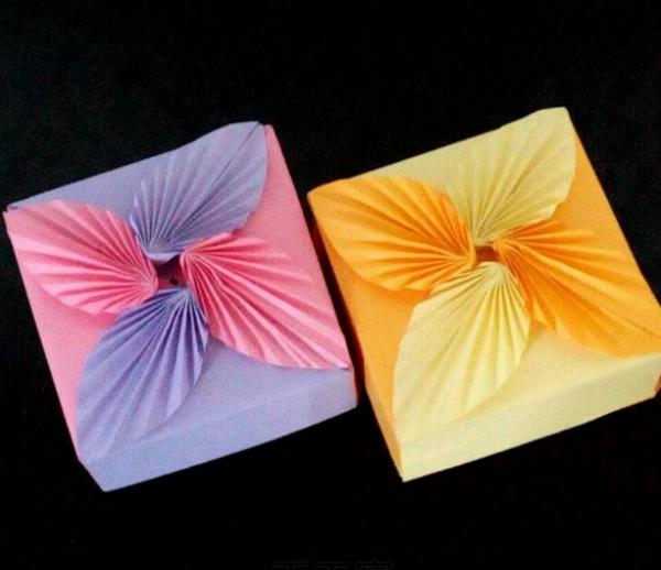 折纸盒子图解:树叶盒子