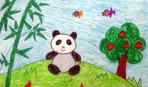 优秀儿童蜡笔画:保护大熊猫