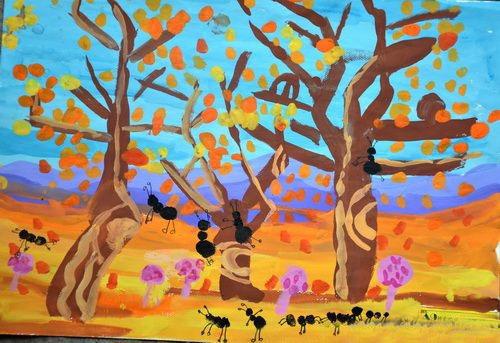 秋天美丽景色儿童画 秋天里的蚂蚁