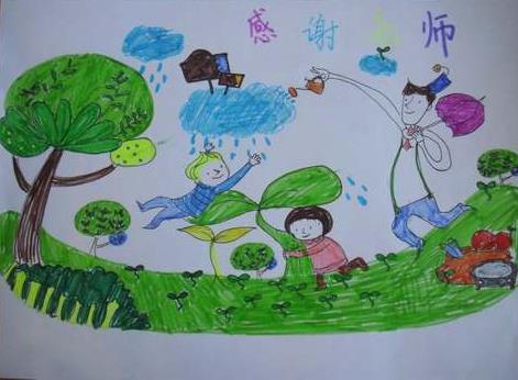 有关教师节的儿童画:老师是园丁