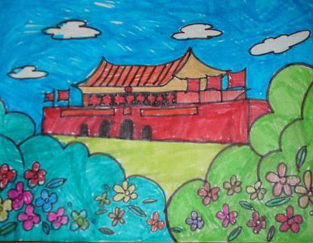 抗战70周年儿童画:祝福祖国