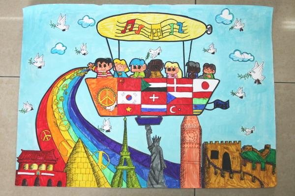 抗战胜利70周年儿童画:散播和平之光