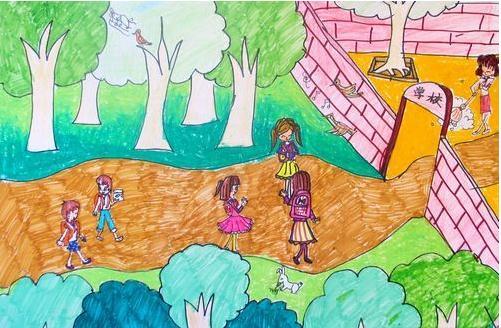 开学主题儿童画:上学的路