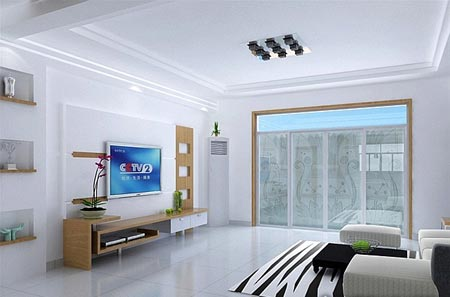 客厅有梁吊顶效果图:时尚简约设计吊顶-客厅有梁吊顶案例图 细节打