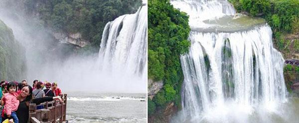贵州:黄果树进入丰水期 游人争相围观大瀑布