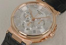 实拍宝玑航海系列5527玫瑰金银盘腕表