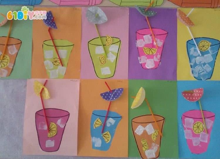 幼儿夏天手工制作饮料贴画