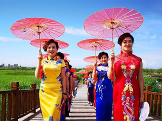 甘肃戈壁湿地公园上演旗袍秀展示传统美