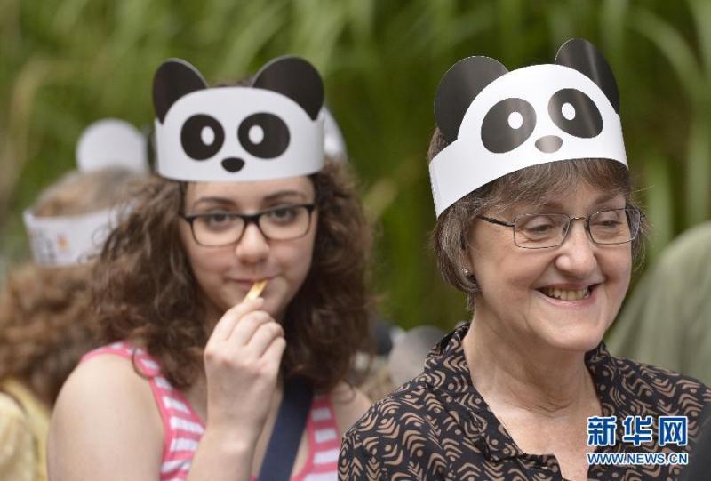 """人们在华盛顿国家动物园排队参加大熊猫""""宝宝""""的一周岁生日庆祝活动"""